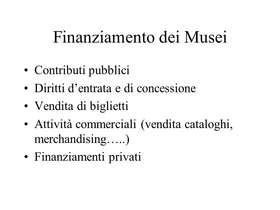 Finanziamento dei Musei Contributi pubblici Diritti dentrata e di concessione Vendita di biglietti Attività commerciali (vendita cataloghi, merchandising…..) Finanziamenti privati