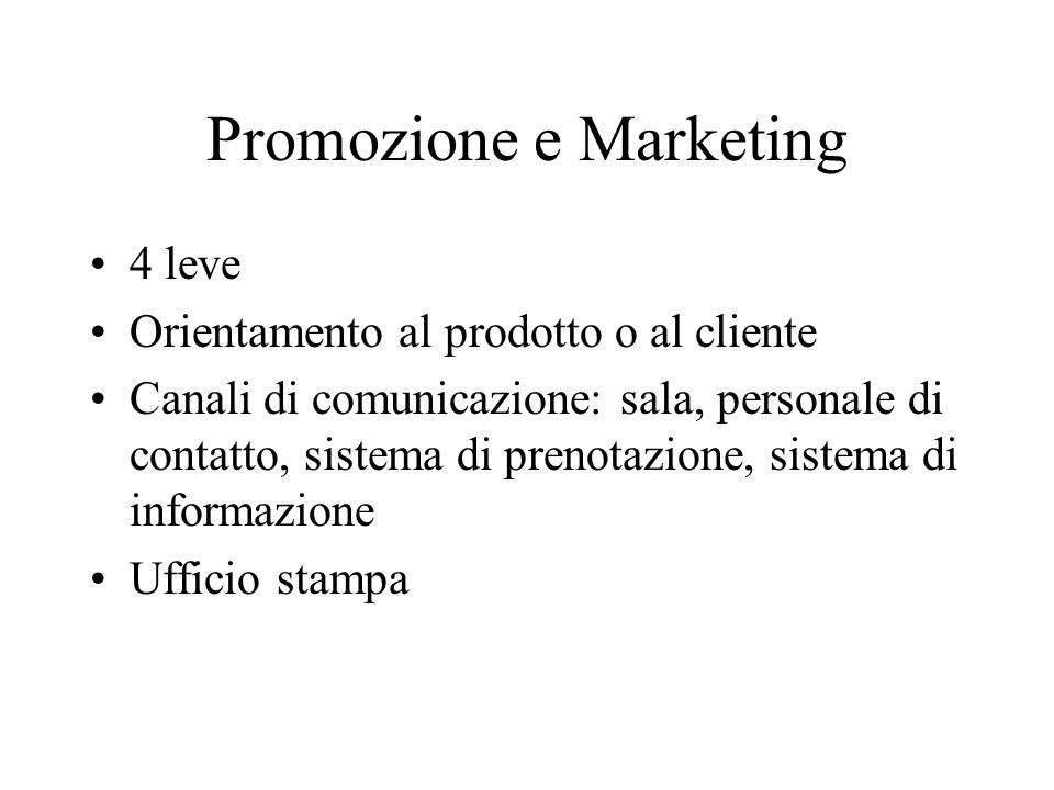 Promozione e Marketing 4 leve Orientamento al prodotto o al cliente Canali di comunicazione: sala, personale di contatto, sistema di prenotazione, sistema di informazione Ufficio stampa