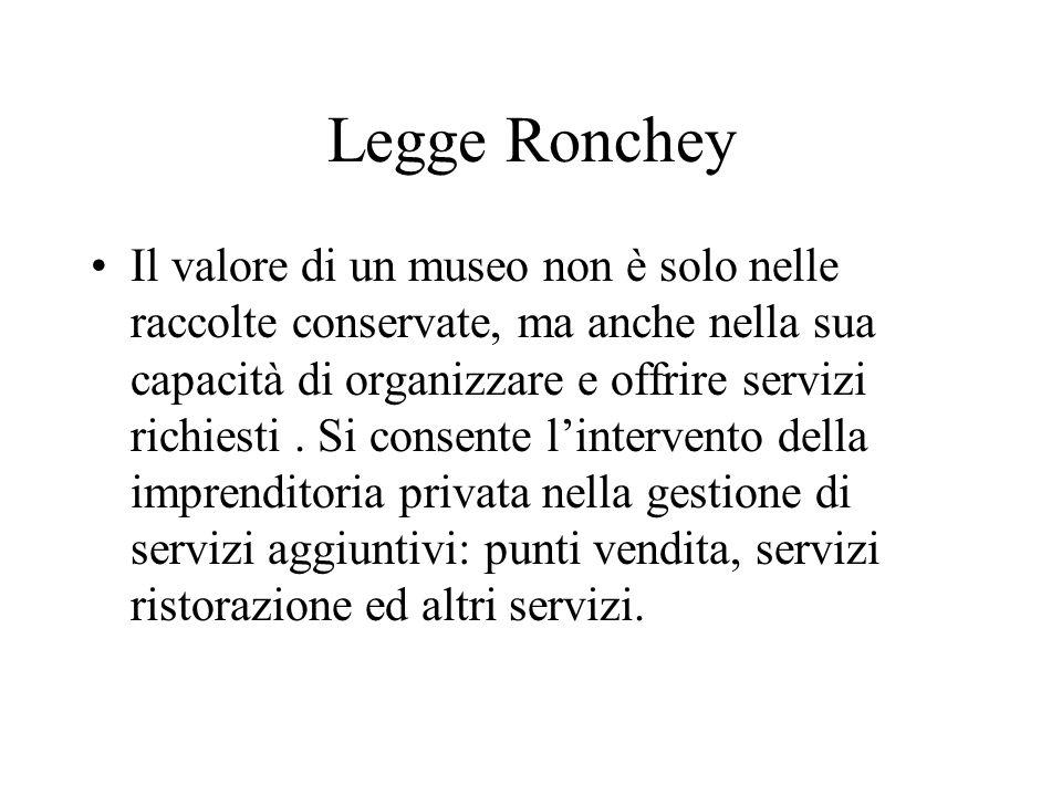 Legge Ronchey Il valore di un museo non è solo nelle raccolte conservate, ma anche nella sua capacità di organizzare e offrire servizi richiesti.
