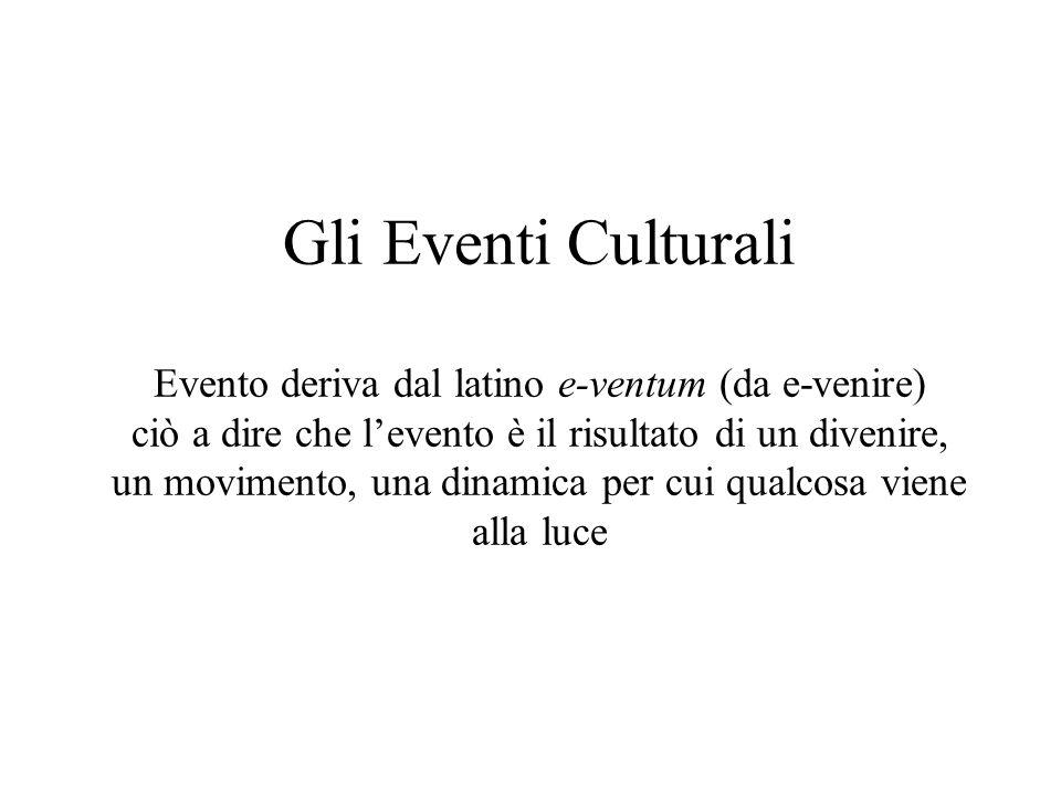 Gli Eventi Culturali Evento deriva dal latino e-ventum (da e-venire) ciò a dire che levento è il risultato di un divenire, un movimento, una dinamica per cui qualcosa viene alla luce