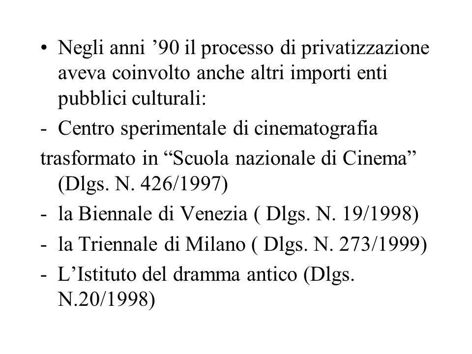 Negli anni 90 il processo di privatizzazione aveva coinvolto anche altri importi enti pubblici culturali: -Centro sperimentale di cinematografia trasformato in Scuola nazionale di Cinema (Dlgs.