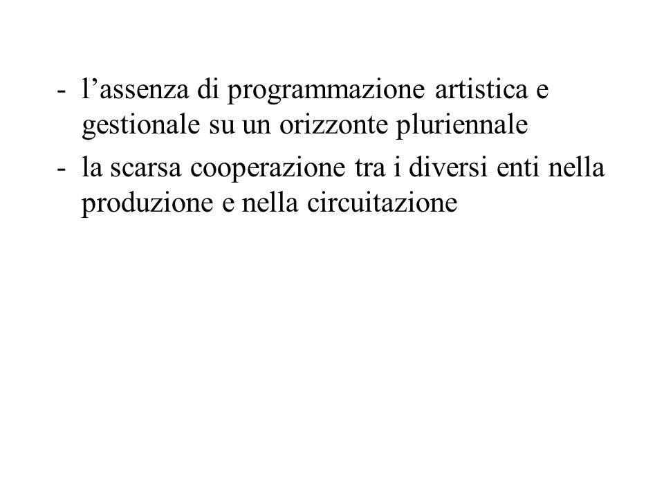 -lassenza di programmazione artistica e gestionale su un orizzonte pluriennale -la scarsa cooperazione tra i diversi enti nella produzione e nella circuitazione