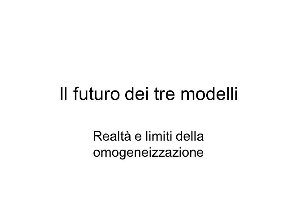Il futuro dei tre modelli Realtà e limiti della omogeneizzazione