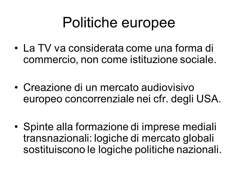 Politiche europee La TV va considerata come una forma di commercio, non come istituzione sociale. Creazione di un mercato audiovisivo europeo concorre