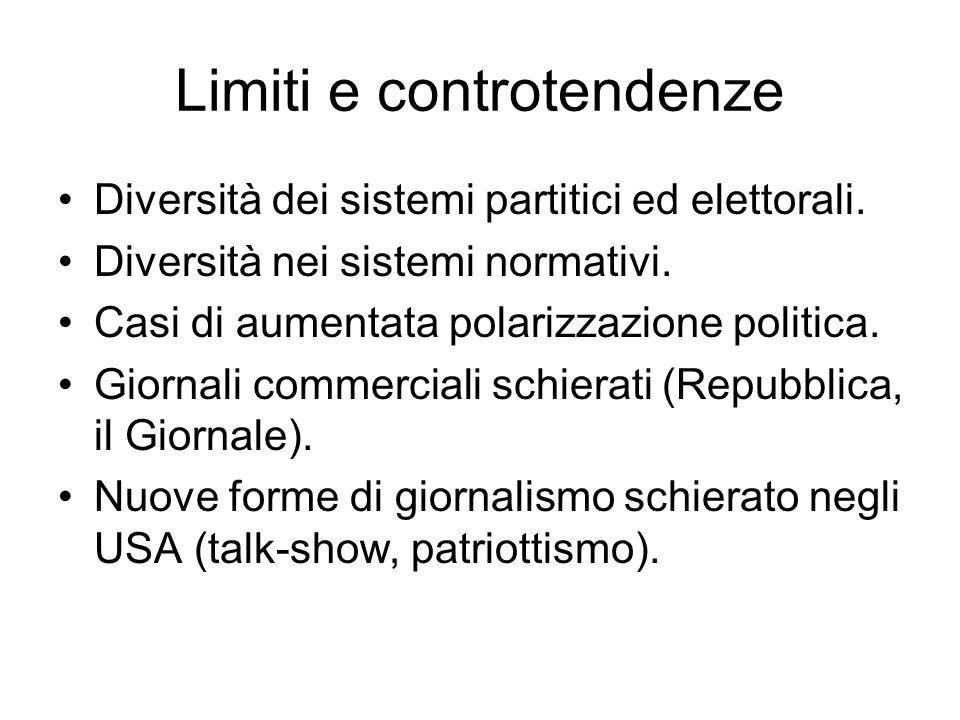 Limiti e controtendenze Diversità dei sistemi partitici ed elettorali. Diversità nei sistemi normativi. Casi di aumentata polarizzazione politica. Gio