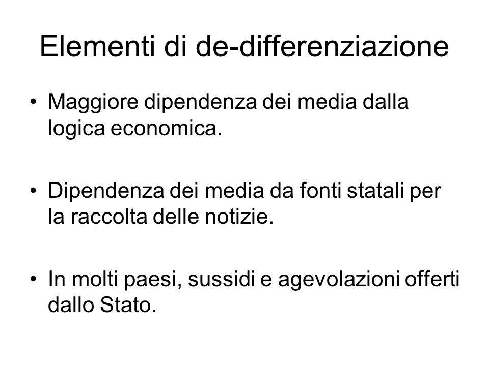 Elementi di de-differenziazione Maggiore dipendenza dei media dalla logica economica. Dipendenza dei media da fonti statali per la raccolta delle noti