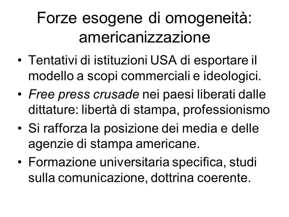 Forze esogene di omogeneità: americanizzazione Tentativi di istituzioni USA di esportare il modello a scopi commerciali e ideologici. Free press crusa