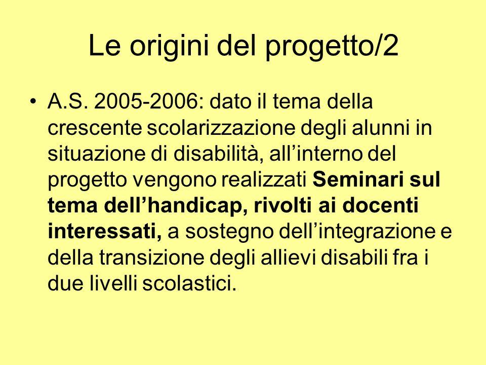Le origini del progetto/2 A.S. 2005-2006: dato il tema della crescente scolarizzazione degli alunni in situazione di disabilità, allinterno del proget