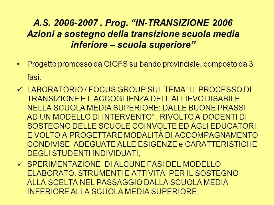 A.S. 2006-2007. Prog. IN-TRANSIZIONE 2006 Azioni a sostegno della transizione scuola media inferiore – scuola superiore Progetto promosso da CIOFS su
