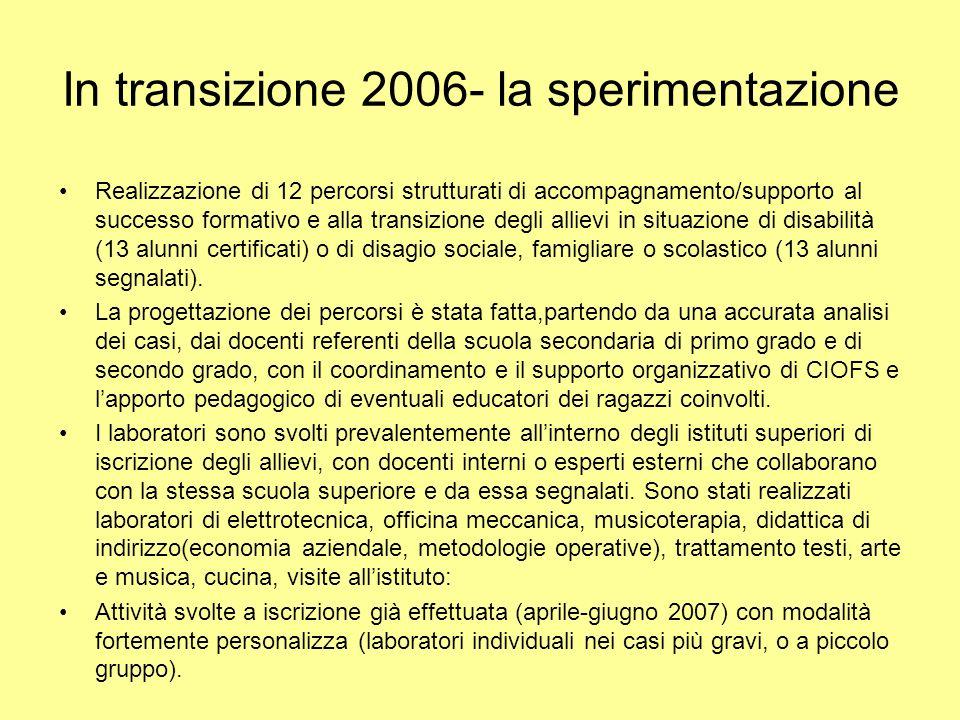 In transizione 2006- la sperimentazione Realizzazione di 12 percorsi strutturati di accompagnamento/supporto al successo formativo e alla transizione