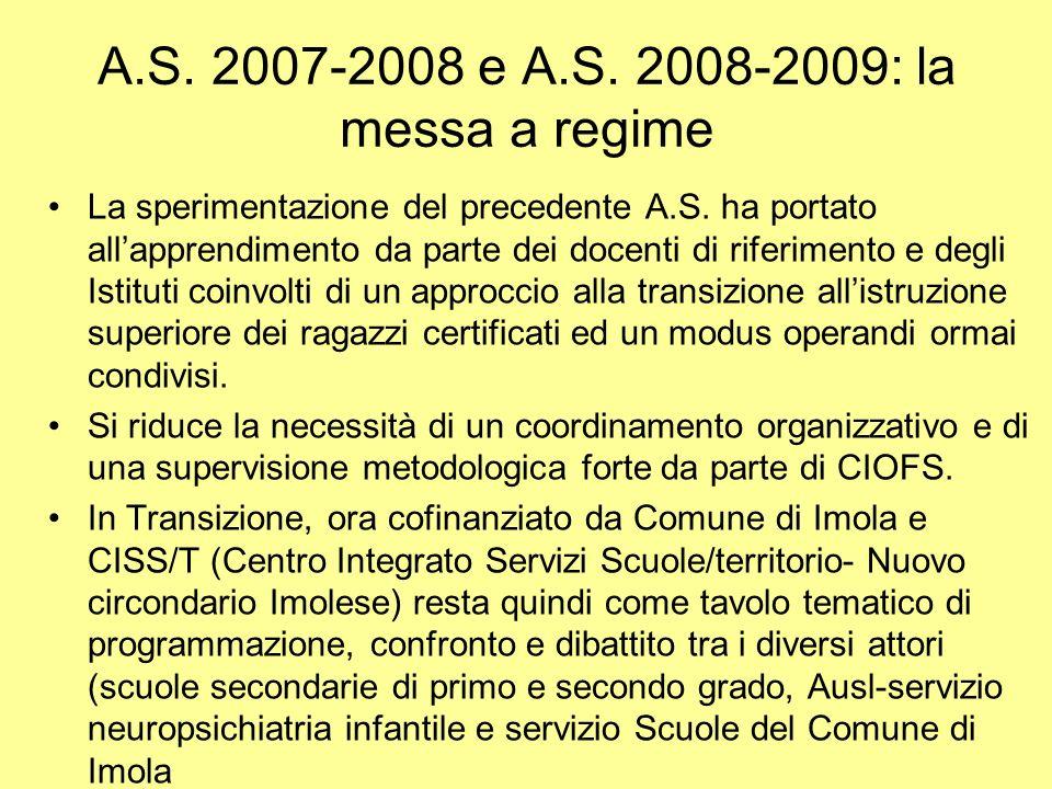 A.S. 2007-2008 e A.S. 2008-2009: la messa a regime La sperimentazione del precedente A.S. ha portato allapprendimento da parte dei docenti di riferime