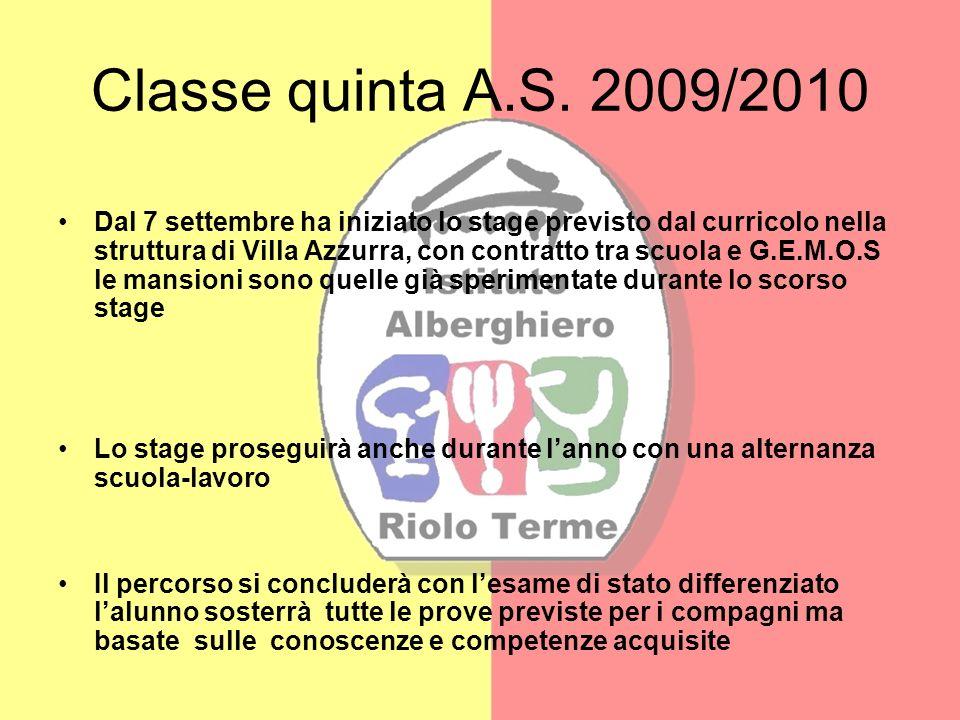 Classe quinta A.S. 2009/2010 Dal 7 settembre ha iniziato lo stage previsto dal curricolo nella struttura di Villa Azzurra, con contratto tra scuola e