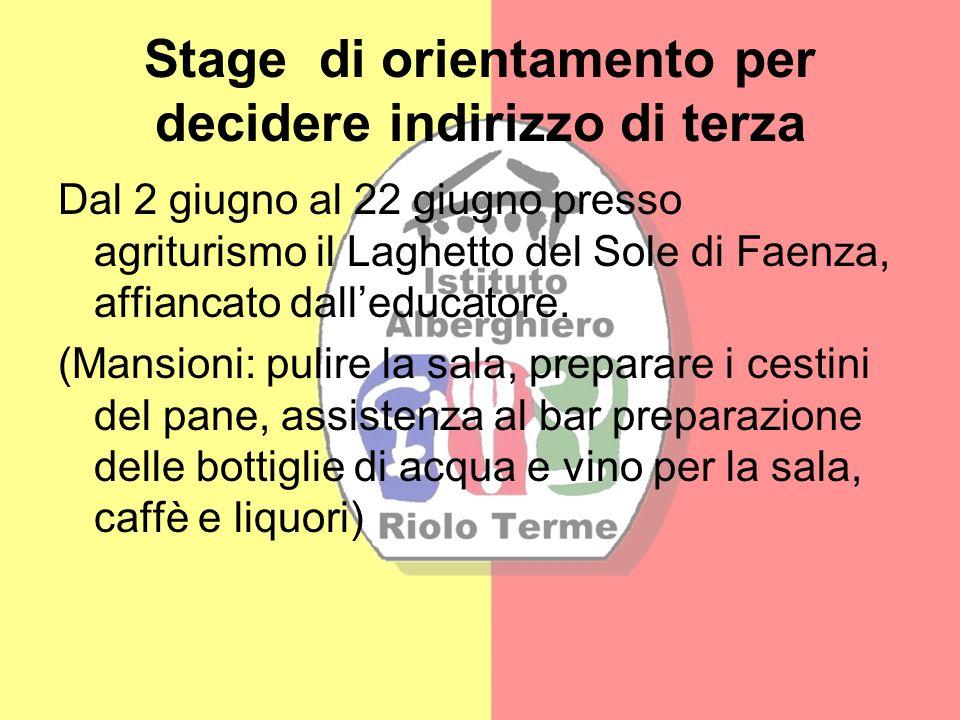 Stage di orientamento per decidere indirizzo di terza Dal 2 giugno al 22 giugno presso agriturismo il Laghetto del Sole di Faenza, affiancato dalleduc