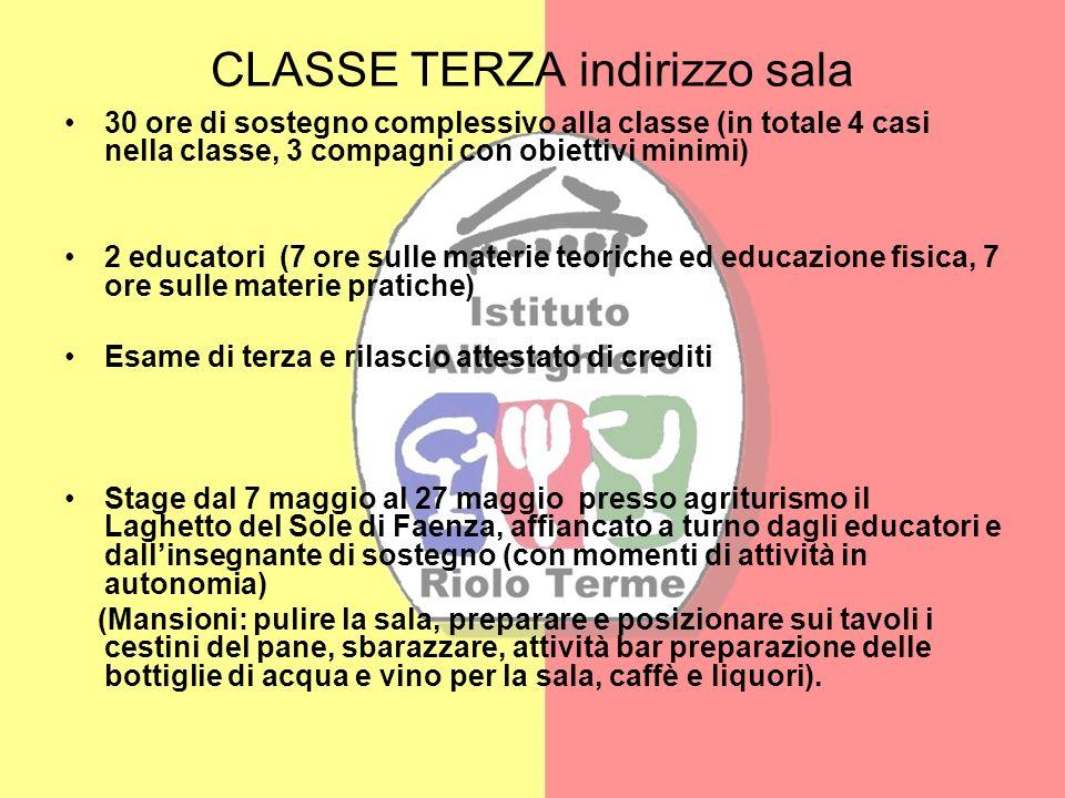CLASSE TERZA indirizzo sala 30 ore di sostegno complessivo alla classe (in totale 4 casi nella classe, 3 compagni con obiettivi minimi) 2 educatori (7