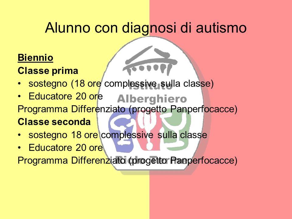 Alunno con diagnosi di autismo Biennio Classe prima sostegno (18 ore complessive sulla classe) Educatore 20 ore Programma Differenziato (progetto Panp