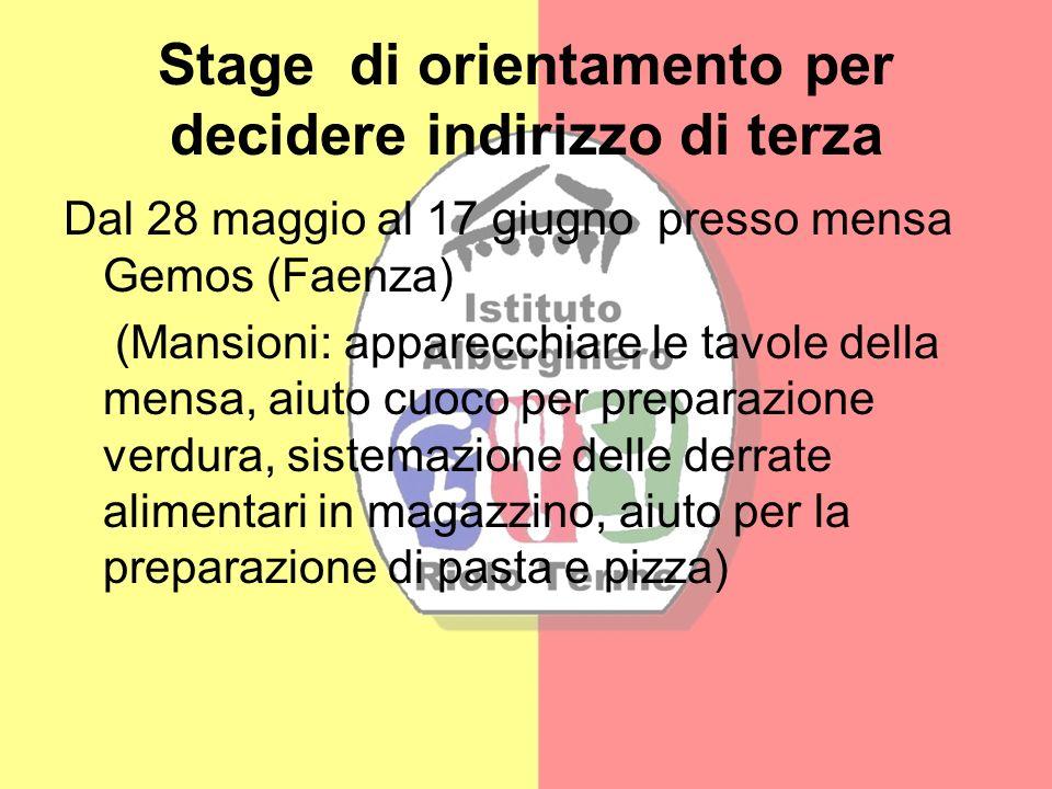 Stage di orientamento per decidere indirizzo di terza Dal 28 maggio al 17 giugno presso mensa Gemos (Faenza) (Mansioni: apparecchiare le tavole della