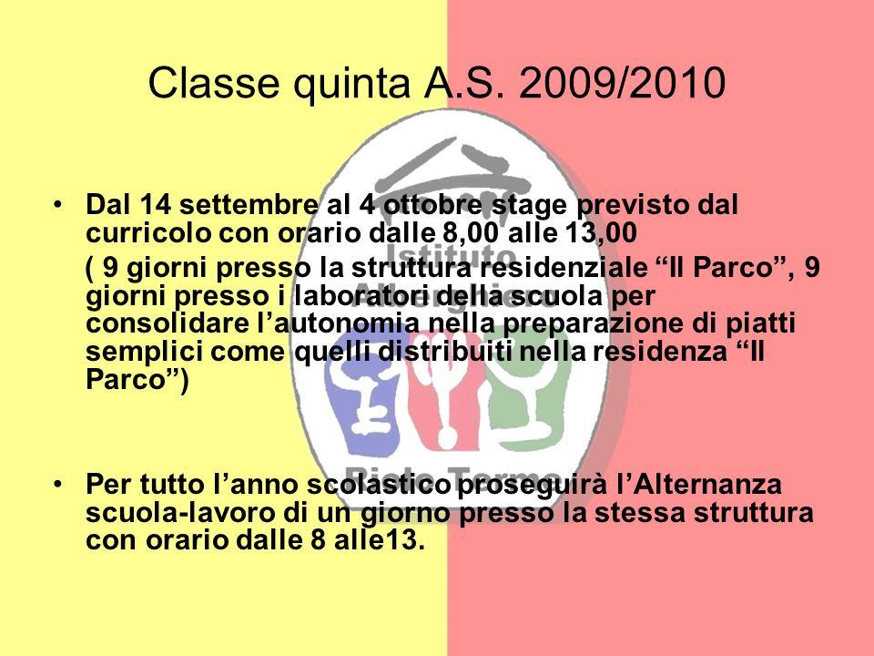Classe quinta A.S. 2009/2010 Dal 14 settembre al 4 ottobre stage previsto dal curricolo con orario dalle 8,00 alle 13,00 ( 9 giorni presso la struttur