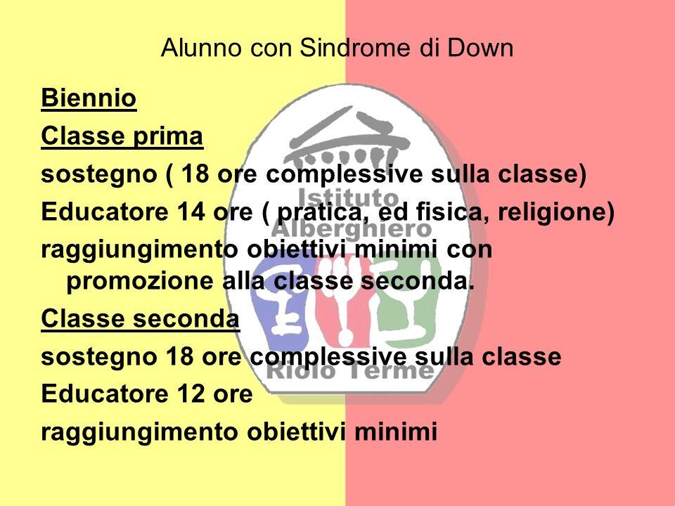 Alunno con Sindrome di Down Biennio Classe prima sostegno ( 18 ore complessive sulla classe) Educatore 14 ore ( pratica, ed fisica, religione) raggiun