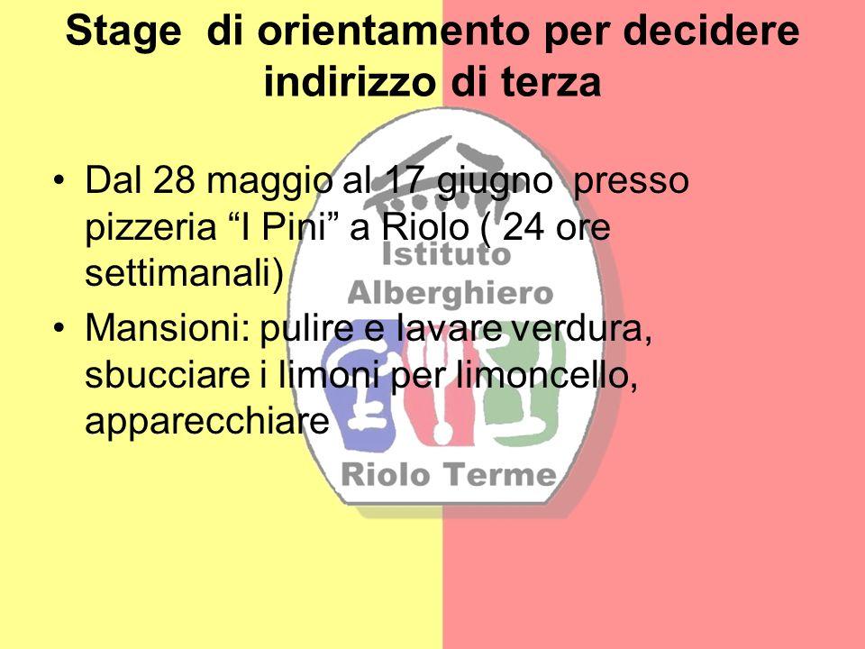 Stage di orientamento per decidere indirizzo di terza Dal 28 maggio al 17 giugno presso pizzeria I Pini a Riolo ( 24 ore settimanali) Mansioni: pulire