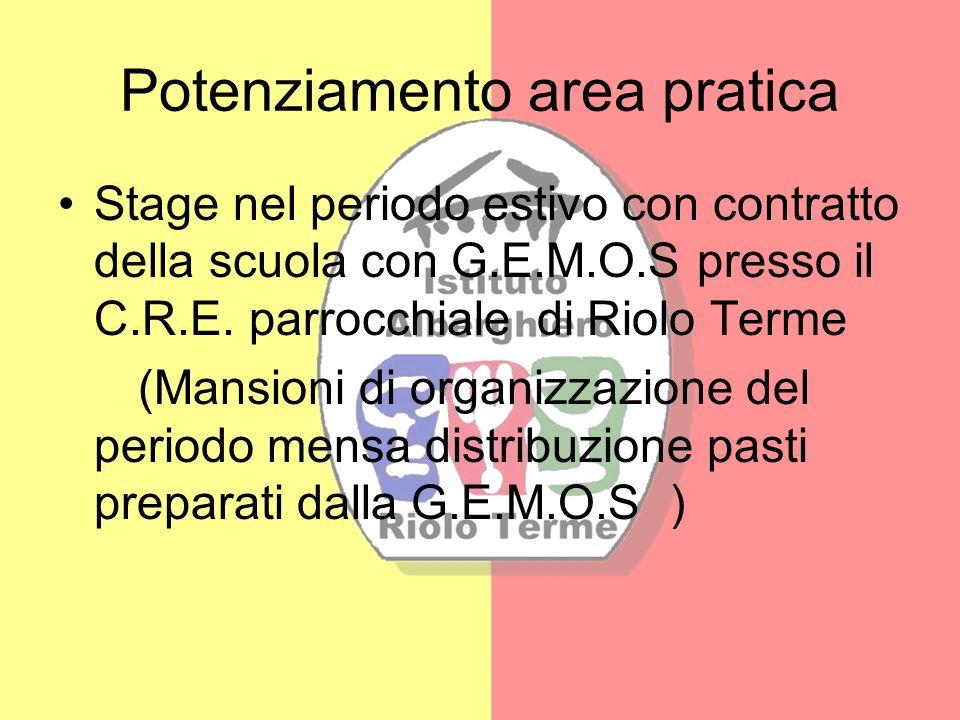 Potenziamento area pratica Stage nel periodo estivo con contratto della scuola con G.E.M.O.S presso il C.R.E. parrocchiale di Riolo Terme (Mansioni di