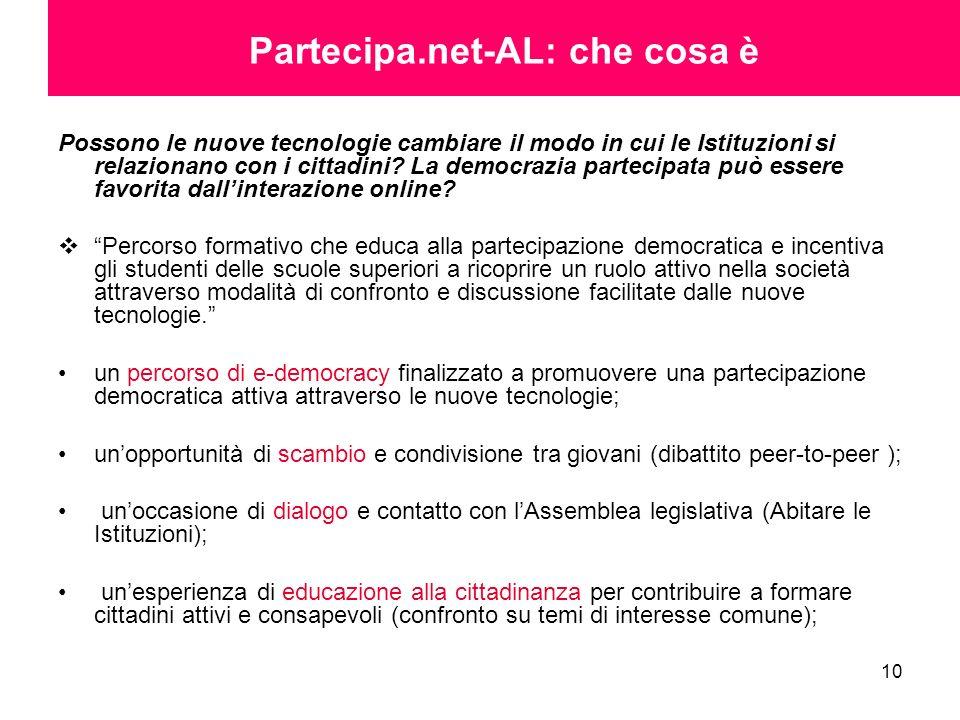 10 Partecipa.net-AL: che cosa è Possono le nuove tecnologie cambiare il modo in cui le Istituzioni si relazionano con i cittadini? La democrazia parte