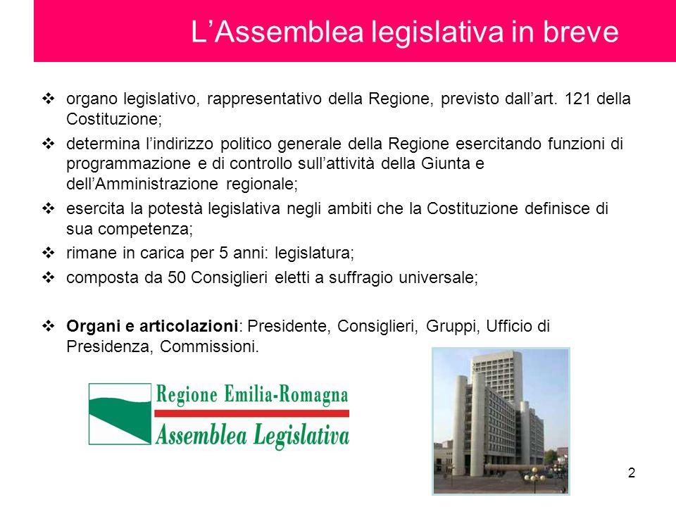 2 LAssemblea legislativa in breve organo legislativo, rappresentativo della Regione, previsto dallart. 121 della Costituzione; determina lindirizzo po