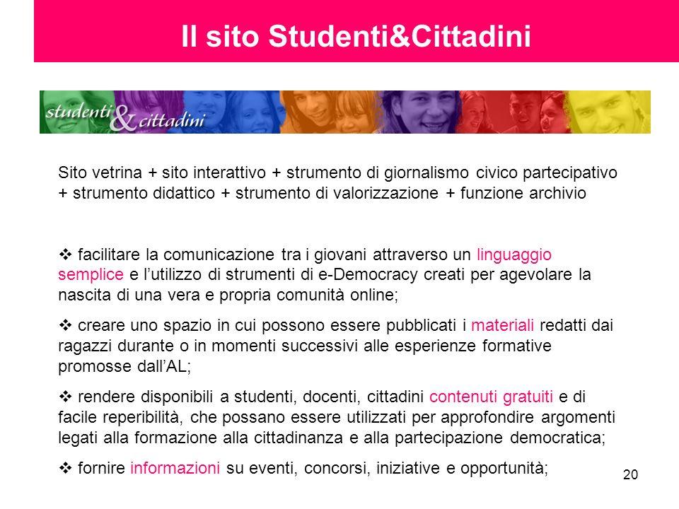 20 Il sito Studenti&Cittadini Sito vetrina + sito interattivo + strumento di giornalismo civico partecipativo + strumento didattico + strumento di val