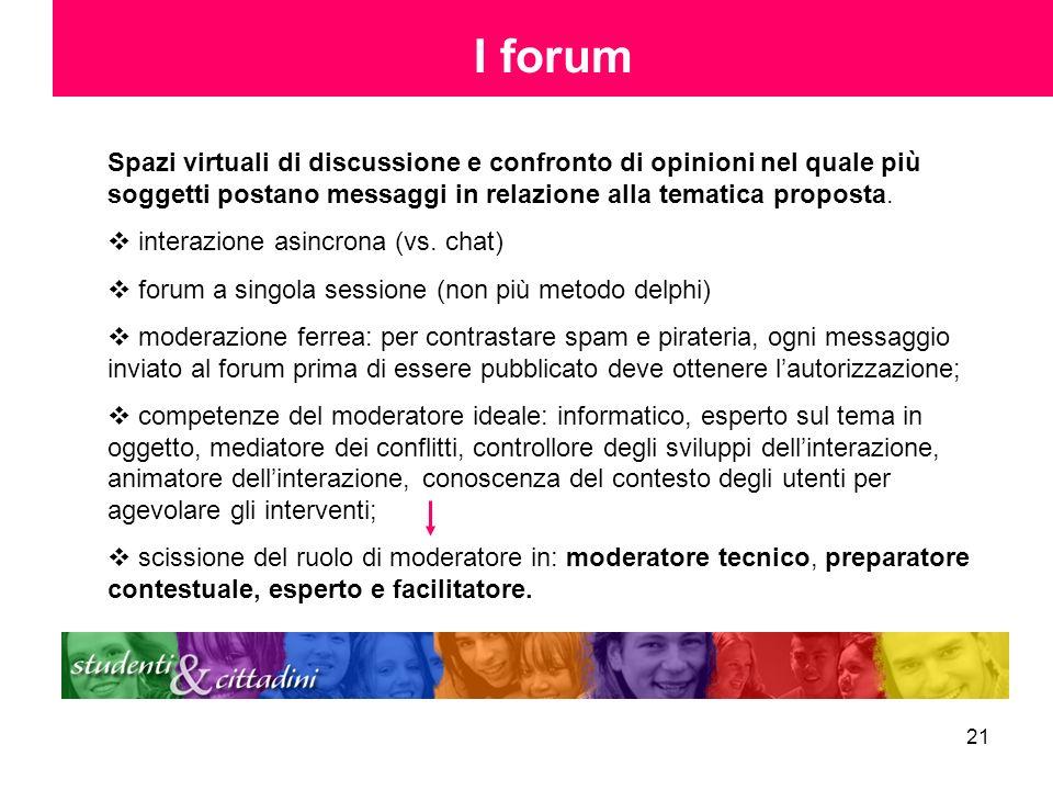 21 I forum Spazi virtuali di discussione e confronto di opinioni nel quale più soggetti postano messaggi in relazione alla tematica proposta. interazi