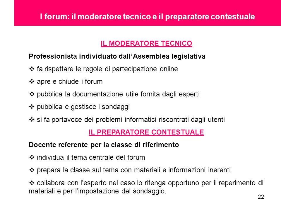 22 I forum: il moderatore tecnico e il preparatore contestuale IL MODERATORE TECNICO Professionista individuato dallAssemblea legislativa fa rispettar