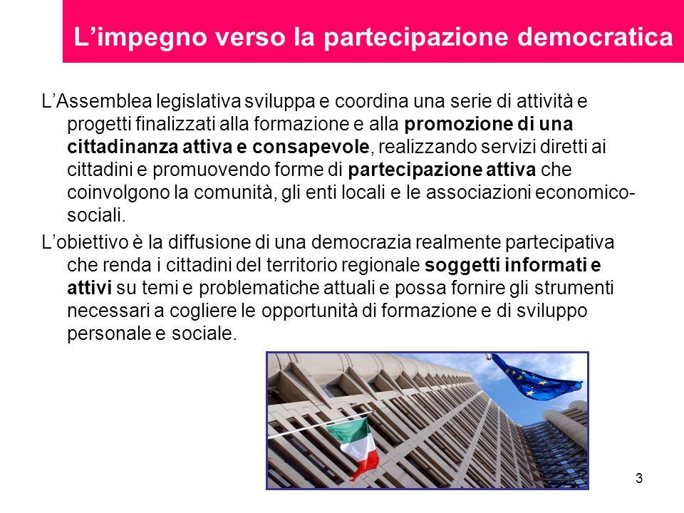 3 Limpegno verso la partecipazione democratica LAssemblea legislativa sviluppa e coordina una serie di attività e progetti finalizzati alla formazione