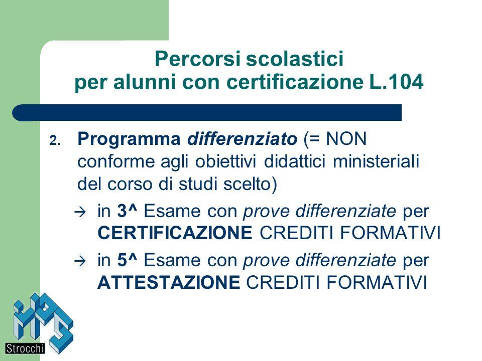 Percorsi scolastici per alunni con certificazione L.104 2. Programma differenziato (= NON conforme agli obiettivi didattici ministeriali del corso di