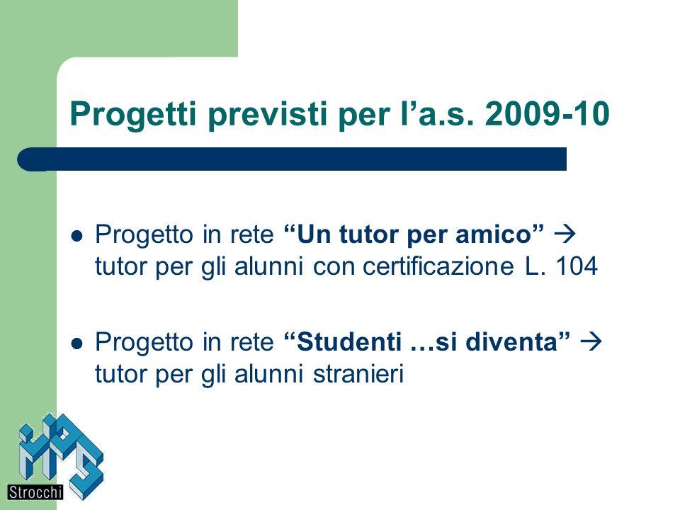 Progetti previsti per la.s. 2009-10 Progetto in rete Un tutor per amico tutor per gli alunni con certificazione L. 104 Progetto in rete Studenti …si d