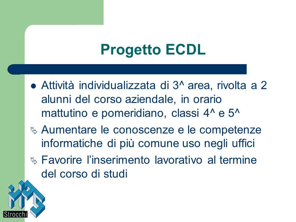 Progetto ECDL Attività individualizzata di 3^ area, rivolta a 2 alunni del corso aziendale, in orario mattutino e pomeridiano, classi 4^ e 5^ Aumentar
