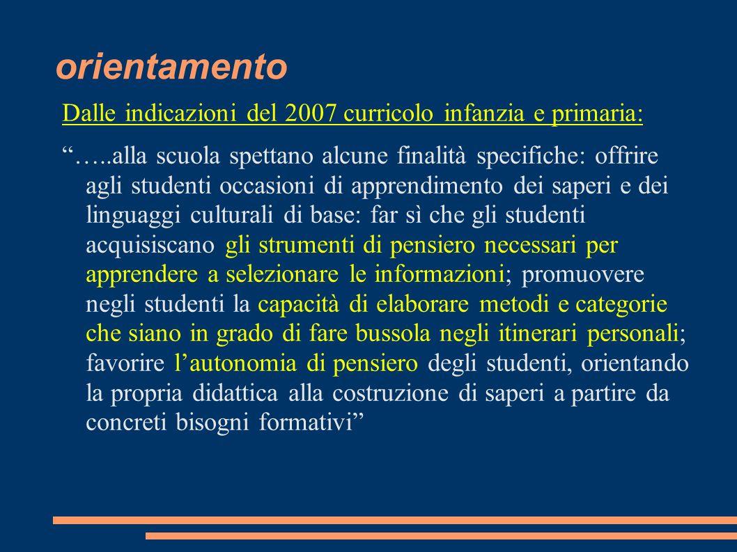 orientamento Indicazioni per la scuola di 1° grado ….