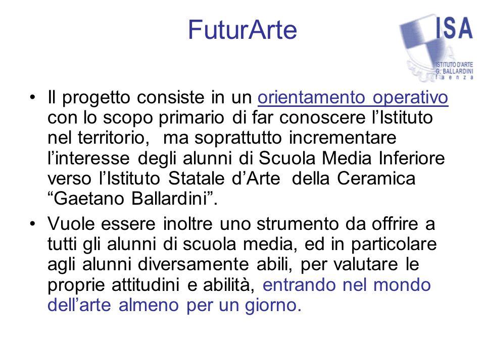 FuturArte Il progetto consiste in un orientamento operativo con lo scopo primario di far conoscere lIstituto nel territorio, ma soprattutto incrementare linteresse degli alunni di Scuola Media Inferiore verso lIstituto Statale dArte della Ceramica Gaetano Ballardini.
