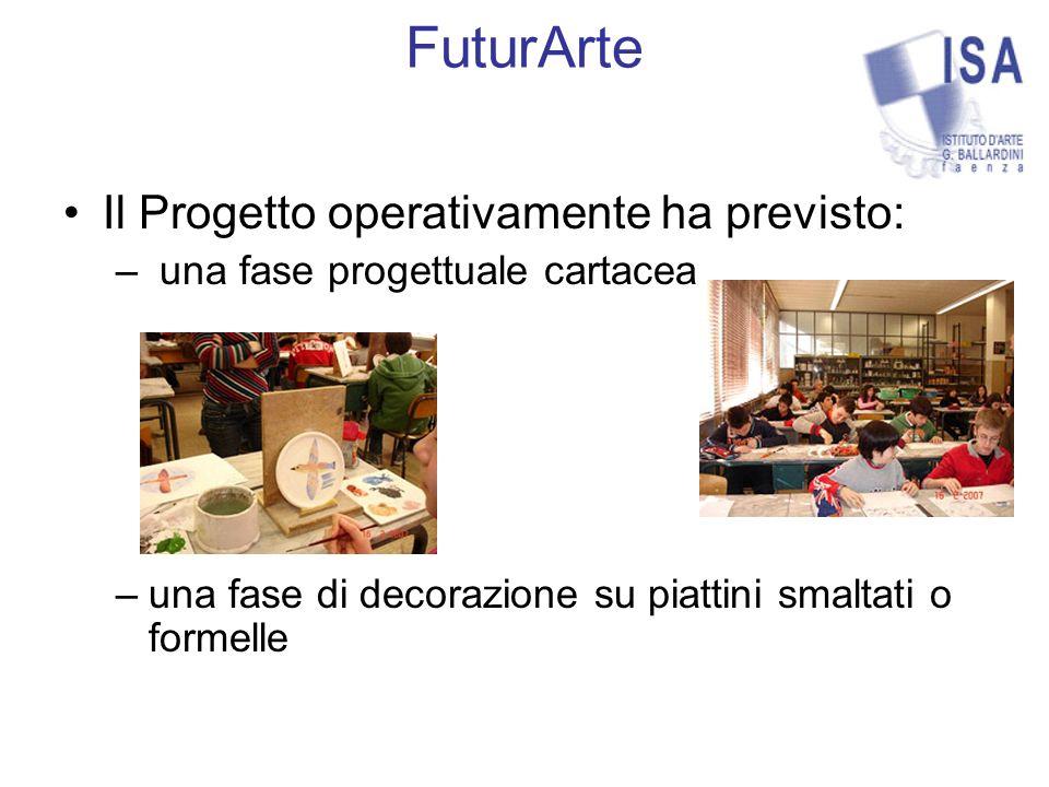FuturArte Il Progetto operativamente ha previsto: – una fase progettuale cartacea –una fase di decorazione su piattini smaltati o formelle