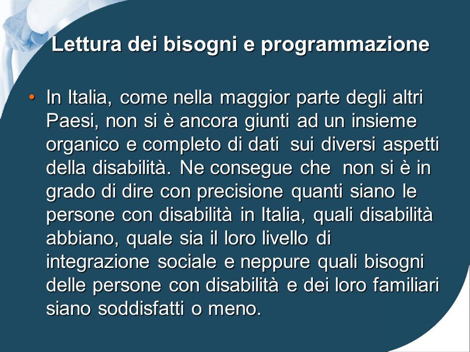 Lettura dei bisogni e programmazione In Italia, come nella maggior parte degli altri Paesi, non si è ancora giunti ad un insieme organico e completo di dati sui diversi aspetti della disabilità.
