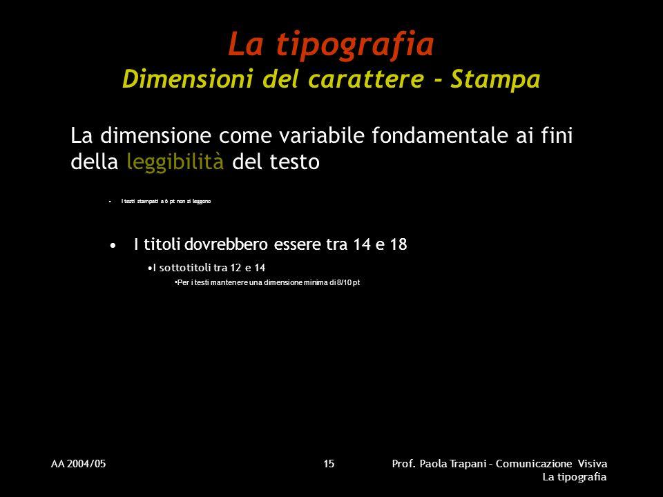 AA 2004/05Prof. Paola Trapani – Comunicazione Visiva La tipografia 15 La tipografia Dimensioni del carattere - Stampa La dimensione come variabile fon