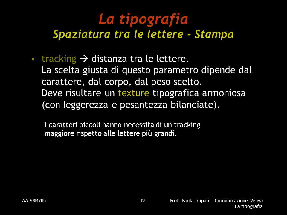 AA 2004/05Prof. Paola Trapani – Comunicazione Visiva La tipografia 19 La tipografia Spaziatura tra le lettere - Stampa tracking distanza tra le letter