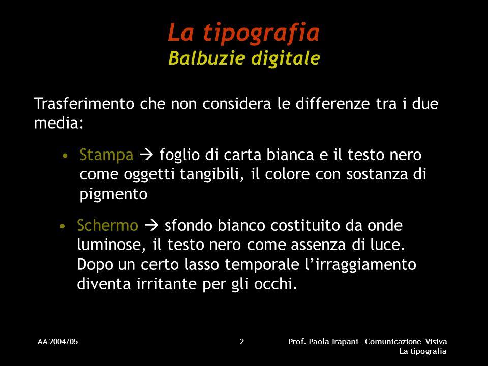 AA 2004/05Prof. Paola Trapani – Comunicazione Visiva La tipografia 2 La tipografia Balbuzie digitale Trasferimento che non considera le differenze tra