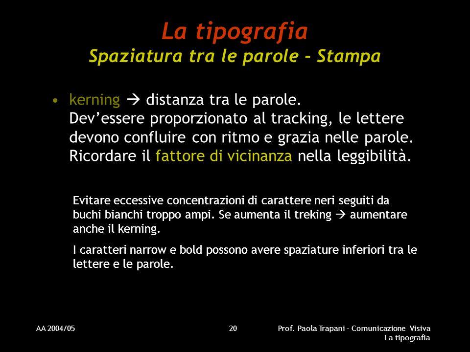AA 2004/05Prof. Paola Trapani – Comunicazione Visiva La tipografia 20 La tipografia Spaziatura tra le parole - Stampa kerning distanza tra le parole.