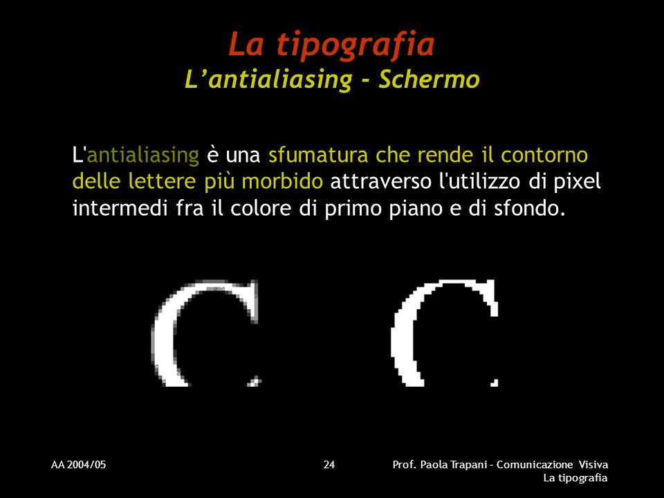 AA 2004/05Prof. Paola Trapani – Comunicazione Visiva La tipografia 24 La tipografia Lantialiasing - Schermo L'antialiasing è una sfumatura che rende i