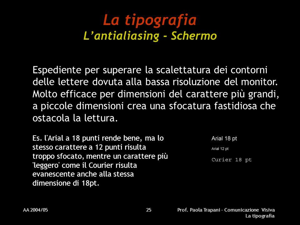 AA 2004/05Prof. Paola Trapani – Comunicazione Visiva La tipografia 25 La tipografia Lantialiasing - Schermo Espediente per superare la scalettatura de