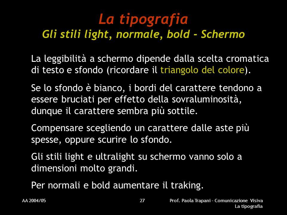 AA 2004/05Prof. Paola Trapani – Comunicazione Visiva La tipografia 27 La tipografia Gli stili light, normale, bold - Schermo La leggibilità a schermo