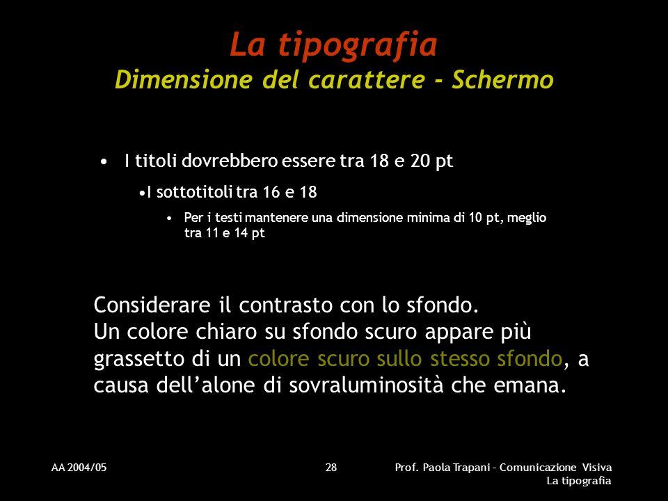 AA 2004/05Prof. Paola Trapani – Comunicazione Visiva La tipografia 28 La tipografia Dimensione del carattere - Schermo I titoli dovrebbero essere tra