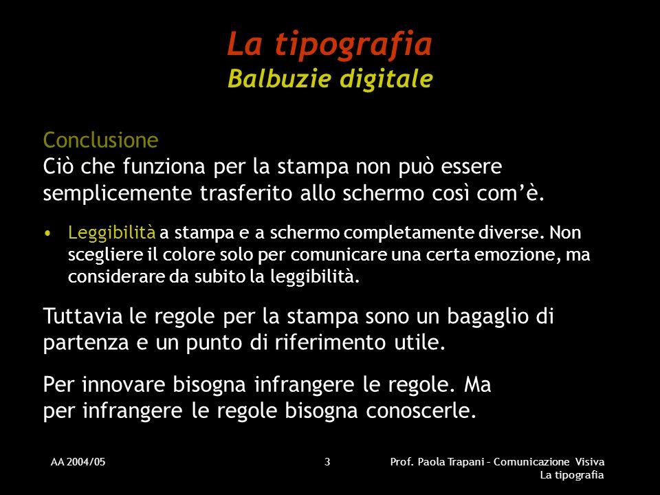 AA 2004/05Prof. Paola Trapani – Comunicazione Visiva La tipografia 3 La tipografia Balbuzie digitale Conclusione Ciò che funziona per la stampa non pu