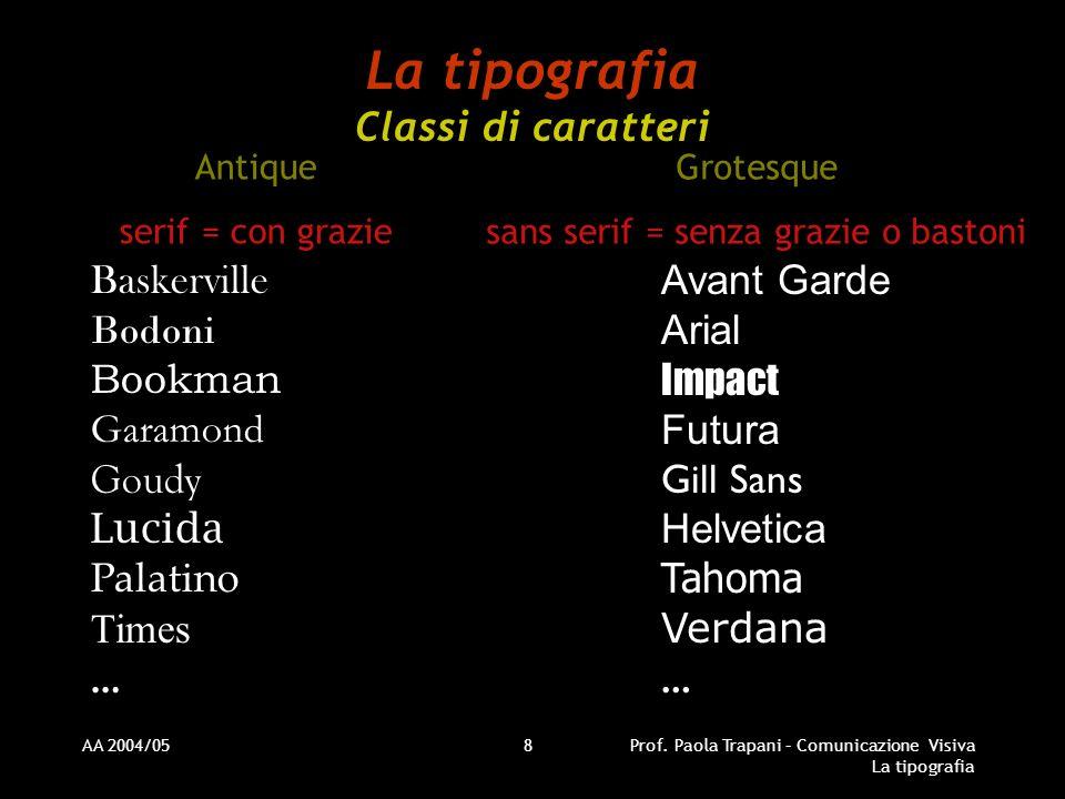 AA 2004/05Prof. Paola Trapani – Comunicazione Visiva La tipografia 8 La tipografia Classi di caratteri Antique serif = con grazie Grotesque sans serif
