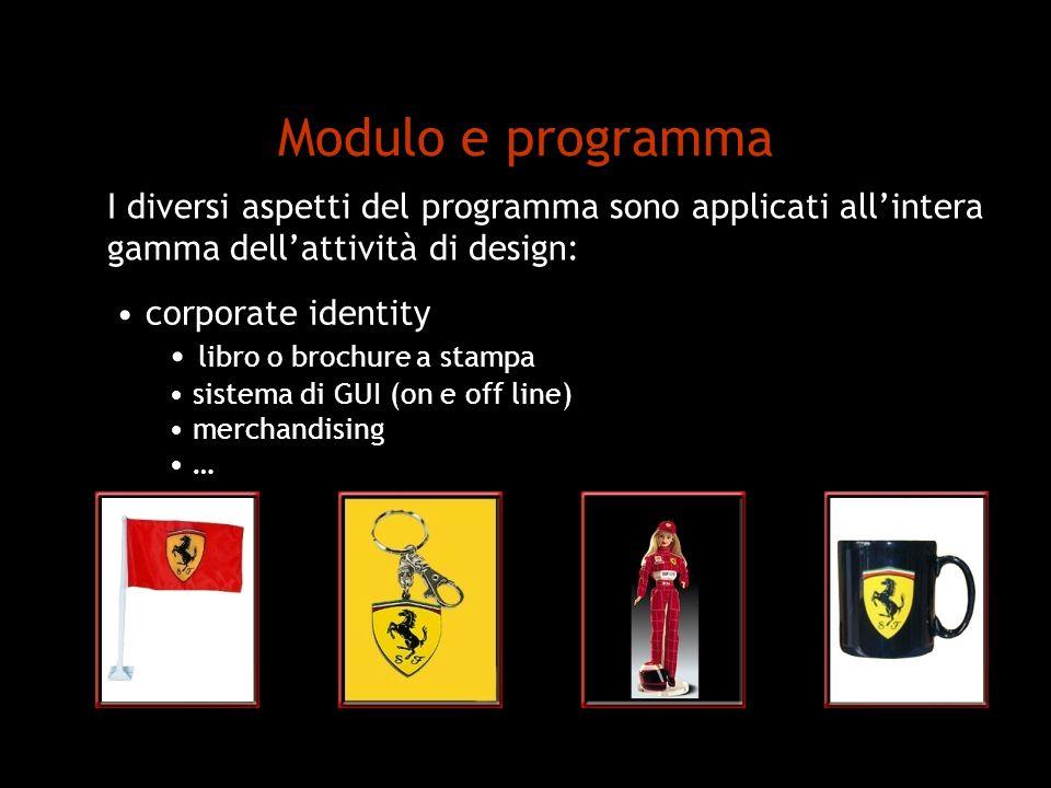 Modulo e programma corporate identity libro o brochure a stampa sistema di GUI (on e off line) merchandising … I diversi aspetti del programma sono ap