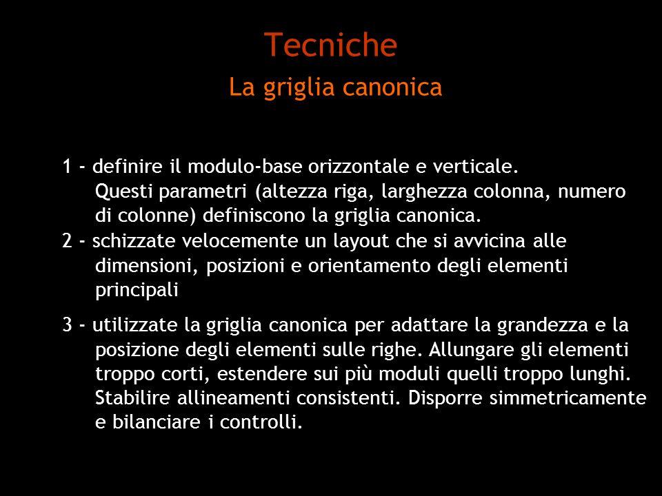 Tecniche La griglia canonica 1 - definire il modulo-base orizzontale e verticale. Questi parametri (altezza riga, larghezza colonna, numero di colonne