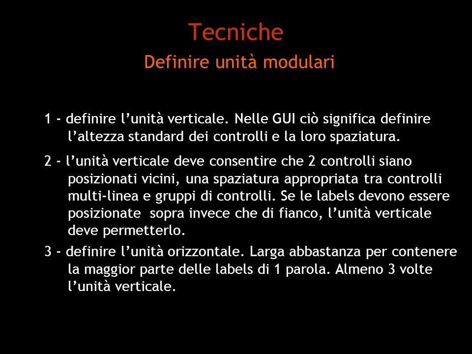 Tecniche Definire unità modulari 1 - definire lunità verticale. Nelle GUI ciò significa definire laltezza standard dei controlli e la loro spaziatura.